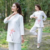Yoga clothes M,L,2XL,XL white female Other / other Set (two piece set) female sex Spring and summer Cotton and hemp Knickerbockers Socket three quarter sleeve trousers
