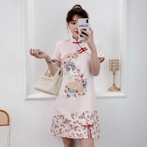 cheongsam Summer 2021 XXL,XXXL,M,L,XL,4XL Pink Short sleeve Short cheongsam No slits daily Oblique lapel Decor 18-25 years old Piping cotton 81% (inclusive) - 90% (inclusive)