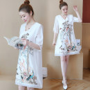 Women's large Summer of 2018 White, black Big XL, big XXL, big XXL, big XXXXL, big XXXXL, big L, M Dress singleton  Socket Short sleeve Medium length Other / other 71% (inclusive) - 80% (inclusive) Middle-skirt