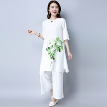 Women's large Spring 2017 white Large XL, large XXL, large L, M Two piece set easy moderate Socket elbow sleeve Medium length printing and dyeing routine Other / other Medium length trousers