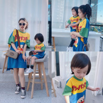 Parent child fashion Women's dress Female, male, neutral Other / other summer leisure time routine cotton Class A Chinese Mainland