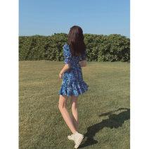 Dress Summer 2021 Blue flower S,M,L Short skirt singleton  Short sleeve street square neck High waist Broken flowers Socket A-line skirt puff sleeve 18-24 years old Type A Wangnansheng