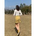 skirt Summer 2021 S,M,L yellow Short skirt Retro High waist skirt lattice Type A Wangnansheng