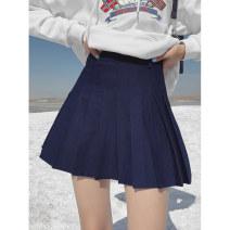 skirt Summer 2021 1 (XS), 2 (s), 3 (m), 4 (L), 5 (XL) Navy Blue Short skirt Retro High waist Pleated skirt Solid color Type A 18-24 years old Wangnansheng