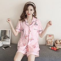 Pajamas / housewear set female Other / other M L XL XXL cotton Short sleeve Cartoon pajamas summer Thin money Small lapel Plants and flowers shorts Front buckle youth 2 pieces rubber string 81% (inclusive) - 95% (inclusive) printing