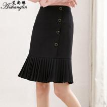 skirt Spring 2021 2XL,XL,L,M black Mid length dress Versatile High waist A-line skirt Solid color 30-34 years old FC0130