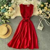 Dress Autumn of 2019 Black, yellow, red, orange, turquoise Average size Short skirt singleton  Sleeveless commute V-neck High waist Solid color Socket A-line skirt Others 18-24 years old Type A Korean version Frenulum 31% (inclusive) - 50% (inclusive) other other