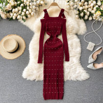 Dress Spring 2021 Black, white, blue, gray, Burgundy, pink, khaki Average size Short skirt singleton  Long sleeves commute square neck High waist Solid color Socket One pace skirt routine Others 18-24 years old Type X Korean version 31% (inclusive) - 50% (inclusive) other other