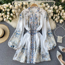 Dress Spring 2021 white Average size Short skirt singleton  Long sleeves commute V-neck High waist other Socket A-line skirt bishop sleeve Others 18-24 years old Type A Korean version 31% (inclusive) - 50% (inclusive) other other