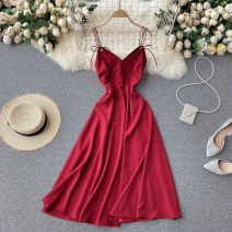 Dress Summer 2021 Black, red, green M, L Mid length dress singleton  commute V-neck High waist Solid color Socket Big swing camisole 18-24 years old Type A Korean version 31% (inclusive) - 50% (inclusive) other other