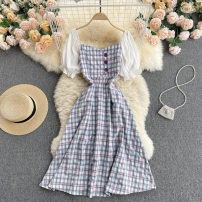 Dress Summer 2021 Purple, green, grey blue M, L Mid length dress singleton  Short sleeve commute square neck High waist Solid color Socket A-line skirt puff sleeve camisole 18-24 years old Type A Korean version Button, button 31% (inclusive) - 50% (inclusive) other other