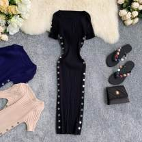 Dress Summer 2020 Average size Mid length dress singleton  Short sleeve commute Crew neck High waist Solid color Socket One pace skirt other Others 18-24 years old Type X Korean version 30% and below knitting