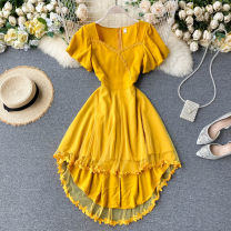 Dress Summer 2020 Black, yellow, red M, L Short skirt singleton  Short sleeve commute square neck High waist Solid color Socket A-line skirt puff sleeve Others 18-24 years old Type A 31% (inclusive) - 50% (inclusive) other other