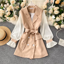 Dress Autumn 2020 Black, apricot Average size Short skirt singleton  Long sleeves commute tailored collar High waist Solid color double-breasted A-line skirt puff sleeve Others 18-24 years old Type A Korean version 31% (inclusive) - 50% (inclusive) other other