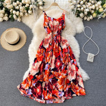 Dress Spring 2021 Red, purple, green, blue Average size Middle-skirt singleton  commute square neck High waist Decor Socket Big swing Others 18-24 years old Type A Korean version 31% (inclusive) - 50% (inclusive) other other
