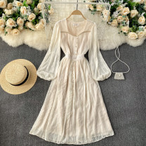 Dress Spring 2021 Apricot, white L,XL Mid length dress singleton  Long sleeves commute square neck High waist Solid color Socket A-line skirt routine Others 18-24 years old Type A Korean version 31% (inclusive) - 50% (inclusive) other other