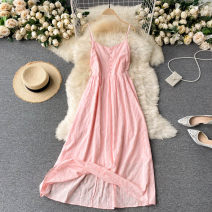 Dress Summer 2021 white , blue , yellow , Pink Average size Middle-skirt singleton  commute square neck High waist Solid color Socket A-line skirt routine camisole 18-24 years old Type A Korean version 31% (inclusive) - 50% (inclusive) other other
