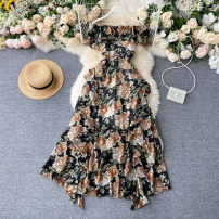 Dress Summer 2020 Black bottom big flower, dark blue red flower, khaki big flower, apricot bottom red flower Average size Middle-skirt singleton  commute One word collar High waist Decor Socket A-line skirt Others 18-24 years old Type A Korean version Lotus leaf edge 31% (inclusive) - 50% (inclusive)