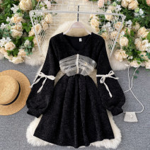 Dress Autumn 2020 black M, L Short skirt singleton  Long sleeves commute V-neck High waist Solid color Socket A-line skirt bishop sleeve Others 18-24 years old Type A Korean version bow 31% (inclusive) - 50% (inclusive) other other