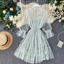 Dress Summer 2020 Pink, blue, black, apricot, green Average size Middle-skirt singleton  Long sleeves commute High waist Solid color Socket pagoda sleeve Others 18-24 years old Type A lady Ruffles, bright silk 31% (inclusive) - 50% (inclusive)
