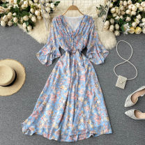 Dress Summer 2021 blue , Pink , Purple flowers on a white background , Purple flower on apricot ground Average size Mid length dress singleton  Short sleeve commute V-neck High waist Decor Socket A-line skirt pagoda sleeve Others 18-24 years old Type A Korean version 31% (inclusive) - 50% (inclusive)