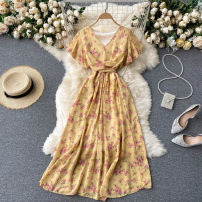 Dress Summer 2021 Yellow, blue, white, pink, watermelon red, khaki, apricot broken flowers, apricot bottom red flowers, ground broken flowers. Average size Mid length dress singleton  Short sleeve commute V-neck High waist Decor Socket A-line skirt routine Others 18-24 years old Type A Korean version