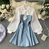 Dress Spring 2020 wathet M, L Short skirt singleton  Long sleeves commute stand collar High waist Solid color Socket A-line skirt puff sleeve Others 18-24 years old Type A Korean version Lace up, panel, button 31% (inclusive) - 50% (inclusive) other other