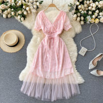 Dress Summer 2021 Pink S,M,L Mid length dress singleton  Short sleeve commute V-neck High waist Solid color Socket A-line skirt puff sleeve Others 18-24 years old Type A Korean version Sequins, gauze 31% (inclusive) - 50% (inclusive) other other