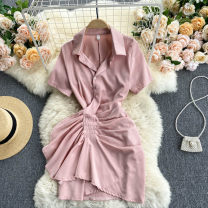Dress Spring 2021 Black, white, blue, pink M, L Short skirt singleton  Short sleeve commute Polo collar High waist Solid color Socket A-line skirt routine Others 18-24 years old Type A Korean version 31% (inclusive) - 50% (inclusive) other other