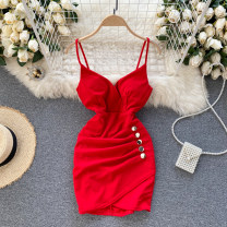 Dress Spring 2021 Black, white, red Average size Short skirt singleton  commute V-neck High waist Solid color Socket A-line skirt camisole 18-24 years old Type A Korean version 31% (inclusive) - 50% (inclusive) other other