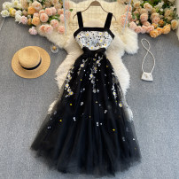Dress Spring 2021 black S,M,L,XL Middle-skirt singleton  commute square neck High waist Decor Socket Big swing camisole 18-24 years old Type A Korean version Embroidery 31% (inclusive) - 50% (inclusive) other other