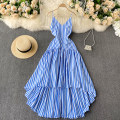 Dress Spring 2021 blue S,M,L Mid length dress singleton  Sleeveless commute V-neck High waist stripe Socket Irregular skirt camisole 18-24 years old Type A Korean version 31% (inclusive) - 50% (inclusive) other other