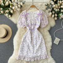 Dress Summer 2021 white S,M,L Short skirt singleton  Short sleeve commute V-neck High waist Broken flowers Socket A-line skirt puff sleeve Others 18-24 years old Type A Korean version 31% (inclusive) - 50% (inclusive) other other