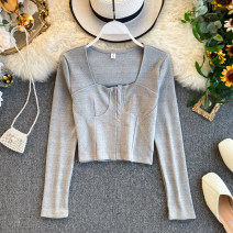 Lace / Chiffon Autumn of 2019 Gray, black Average size Long sleeves commute Cardigan singleton  Self cultivation Regular square neck Solid color routine 18-24 years old Korean version 31% (inclusive) - 50% (inclusive)