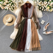 Dress Spring 2021 brown S,M,L,XL,2XL Mid length dress singleton  Long sleeves commute Polo collar High waist other Socket A-line skirt puff sleeve Others 18-24 years old Type A Korean version 31% (inclusive) - 50% (inclusive) other other