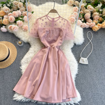 Dress Spring 2021 Pink S,M,L,XL,2XL Short skirt singleton  Short sleeve commute Crew neck High waist Solid color Socket A-line skirt routine Others 18-24 years old Type A Korean version 31% (inclusive) - 50% (inclusive) other other