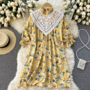 Dress Spring 2021 yellow Average size Short skirt singleton  Long sleeves commute Crew neck High waist other Socket A-line skirt routine Others 18-24 years old Type A Korean version Splicing 31% (inclusive) - 50% (inclusive) other other