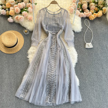 Dress Spring 2021 Grey, pink S,M,L,XL,2XL Middle-skirt singleton  Long sleeves commute Crew neck High waist Solid color Socket A-line skirt routine Others 18-24 years old Type A Korean version 31% (inclusive) - 50% (inclusive) other other