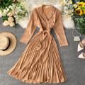 Dress Autumn of 2019 Average size Mid length dress singleton  Long sleeves commute tailored collar High waist Solid color other Pleated skirt other Others 18-24 years old Type A Korean version Frenulum 31% (inclusive) - 50% (inclusive) other other