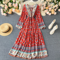 Dress Summer 2020 Average size longuette singleton  Long sleeves commute V-neck High waist Decor Socket Big swing puff sleeve Others 18-24 years old Type A Korean version Frenulum 31% (inclusive) - 50% (inclusive) other other