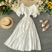 Dress Summer 2020 white S,M,L Middle-skirt singleton  Short sleeve commute One word collar High waist Solid color Socket A-line skirt puff sleeve Others 18-24 years old Type A Korean version 31% (inclusive) - 50% (inclusive) other other