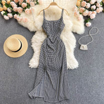 Dress Summer 2021 black Average size Short skirt singleton  commute square neck High waist houndstooth  Socket A-line skirt camisole 18-24 years old Type A Korean version 31% (inclusive) - 50% (inclusive) other other