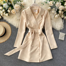 Dress Autumn 2020 Black, apricot S,M,L Short skirt singleton  Long sleeves commute tailored collar High waist Solid color double-breasted A-line skirt routine Others 18-24 years old Type A Korean version 31% (inclusive) - 50% (inclusive) other other