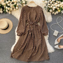 Dress Spring 2021 Black, dark brown Average size Middle-skirt singleton  Long sleeves commute Crew neck High waist Dot Socket A-line skirt puff sleeve Others 18-24 years old Type A Korean version 31% (inclusive) - 50% (inclusive) other other