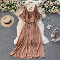 Dress Summer 2021 Black, red, khaki, dark blue, sapphire Average size Mid length dress singleton  commute Crew neck High waist Solid color Socket A-line skirt camisole 18-24 years old Type A Korean version 31% (inclusive) - 50% (inclusive) other other