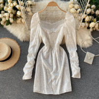 Dress Autumn 2020 Black, white, champagne M, L Short skirt singleton  Long sleeves commute square neck High waist Solid color Socket A-line skirt routine Others 18-24 years old Type A Korean version Sequins 31% (inclusive) - 50% (inclusive) other other