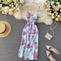 Dress Summer 2020 White, light blue, black, dark blue S,M,L longuette singleton  Sleeveless commute V-neck High waist Decor zipper A-line skirt camisole 18-24 years old Type A Korean version Hollowed out, bare back 31% (inclusive) - 50% (inclusive) Chiffon other