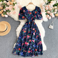 Dress Summer 2021 navy blue Average size Middle-skirt singleton  Short sleeve commute square neck High waist Decor Socket A-line skirt routine Others 18-24 years old Type A Korean version 31% (inclusive) - 50% (inclusive) other other