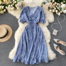 Dress Summer 2020 Black, yellow, white, green, red, pink, sapphire, light blue, cyan, apricot Average size Middle-skirt singleton  Short sleeve commute V-neck High waist Solid color Socket A-line skirt puff sleeve Others 18-24 years old Type A Korean version Lotus leaf edge other other