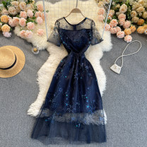 Dress Spring 2021 navy blue S,M,L,XL,2XL Middle-skirt singleton  Short sleeve commute Crew neck High waist Solid color Socket A-line skirt routine Others 18-24 years old Type A Korean version 31% (inclusive) - 50% (inclusive) other other